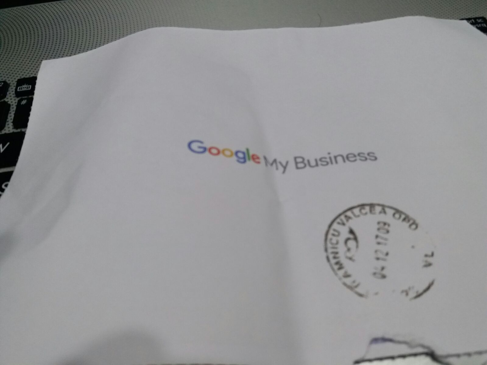 Google My Business confirmation envelope