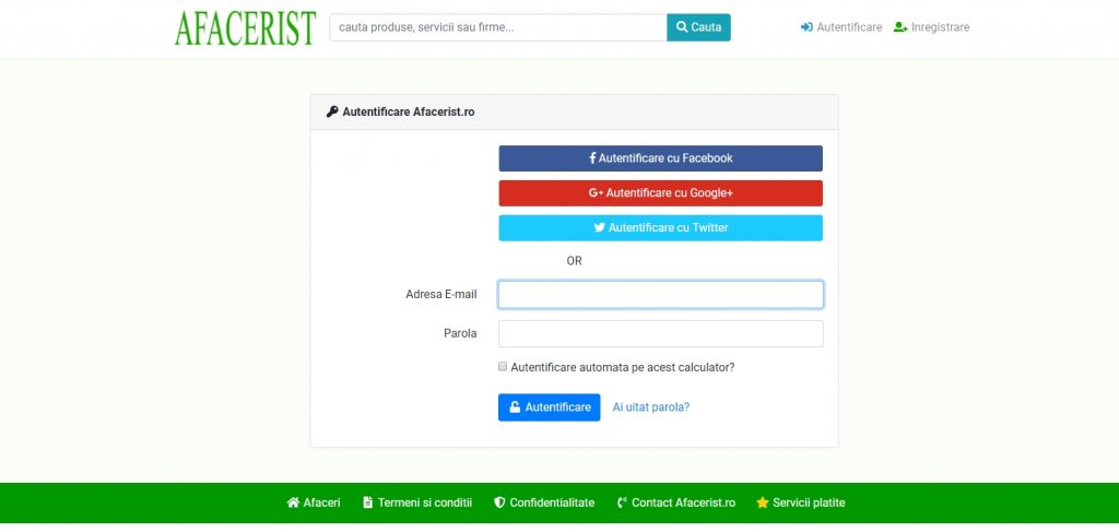 Afacerist.ro - Autentificare