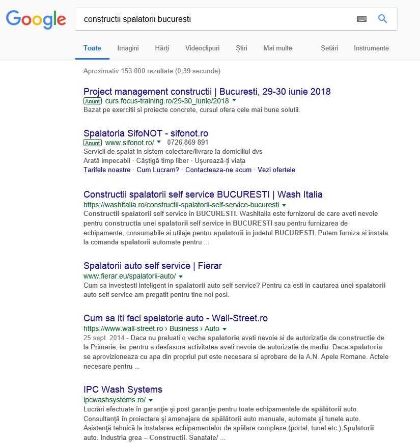 pozitionare google constructii spalatorii