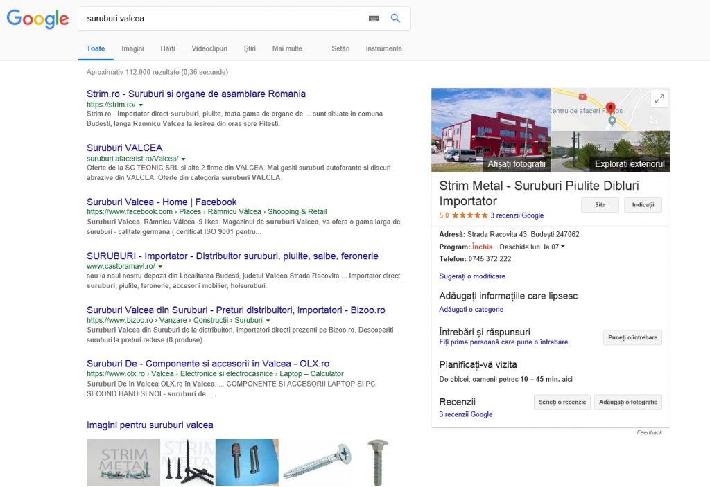 toata pagina google la cautarea suruburi valcea
