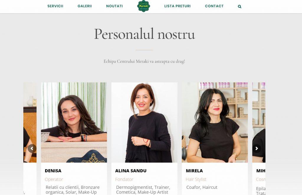 web design salon infrumusetare - prezentare personal