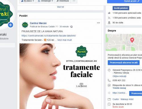 Reclama Facebook pentru promovarea tratamentelor faciale