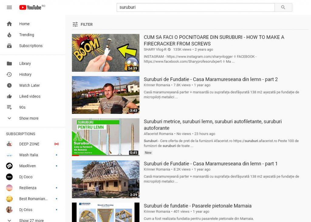cautarea suruburi youtube